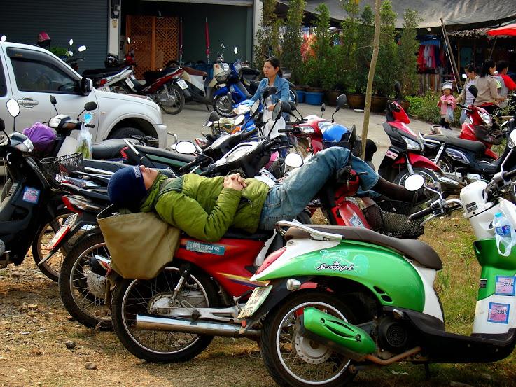 Facet spi na skuterze - rynek w Pai