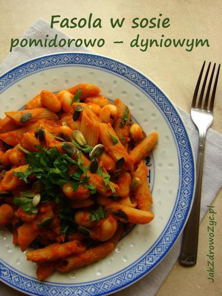 Fasola w sosie pomidorowo - dyniowym ze szpinakiem