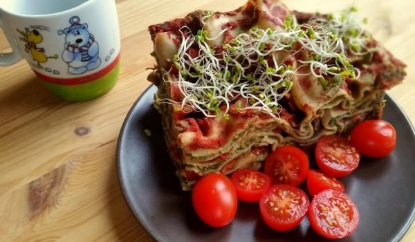 lasagna z pieczarkami i szpinakiem