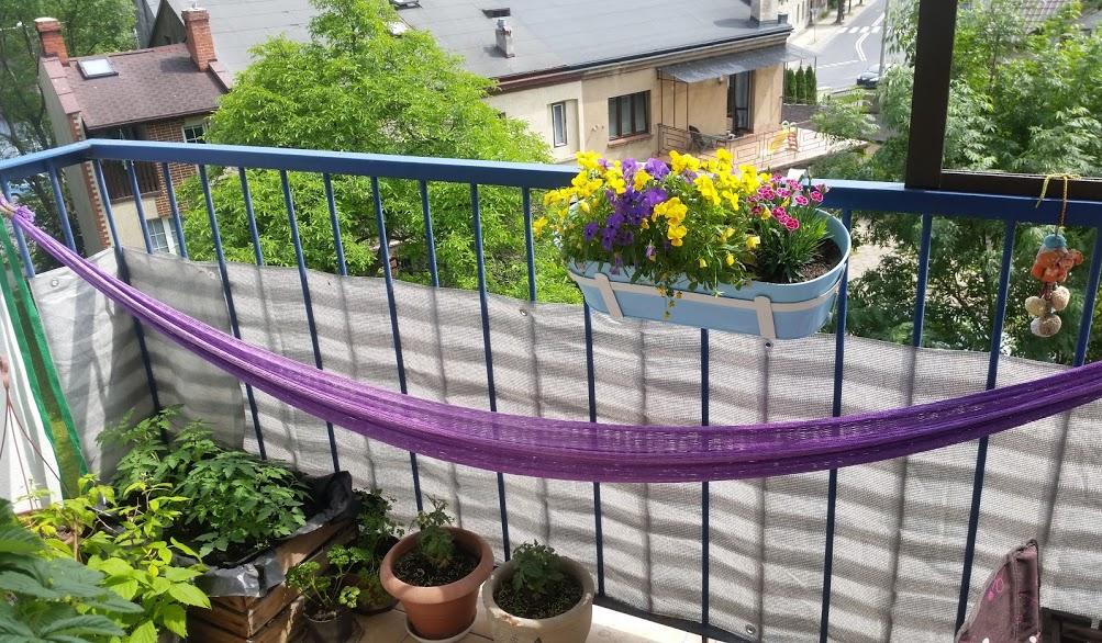 hamak na balkonie
